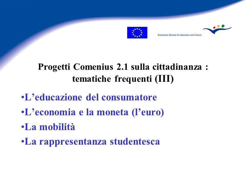 Progetti Comenius 2.1 sulla cittadinanza : tematiche frequenti (III) L'educazione del consumatore L'economia e la moneta (l'euro) La mobilità La rappresentanza studentesca
