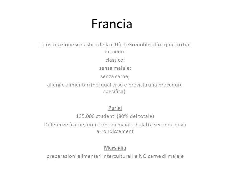 Francia La ristorazione scolastica della città di Grenoble offre quattro tipi di menu: classico; senza maiale; senza carne; allergie alimentari (nel qual caso è prevista una procedura specifica).