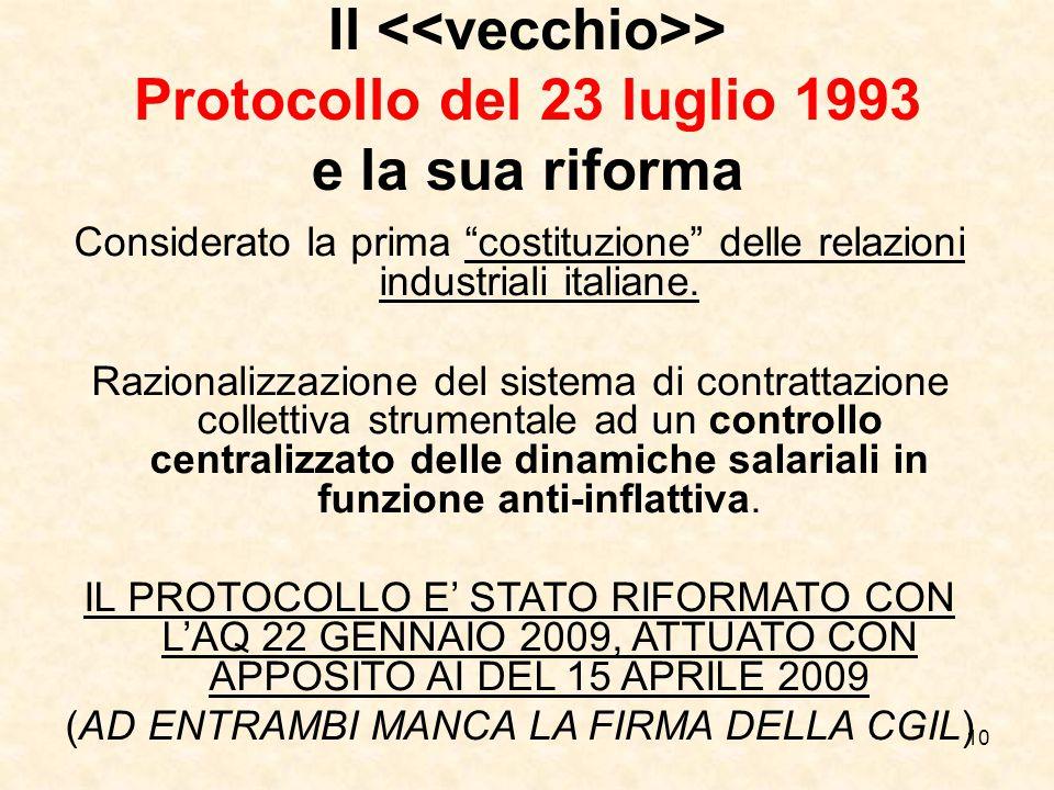 10 Il > Protocollo del 23 luglio 1993 e la sua riforma Considerato la prima costituzione delle relazioni industriali italiane.