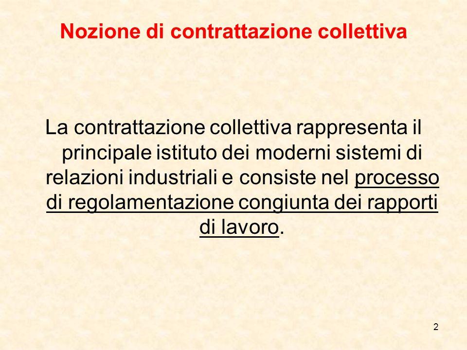 3 Nozione di contratto collettivo di lavoro Il contratto collettivo costituisce il prodotto dell'attività negoziale E' il contratto con cui i soggetti collettivi (organizzazioni sindacali dei lavoratori e dei datori di lavoro o singolo datore di lavoro): A.predeterminano la disciplina dei rapporti individuali (c.d.