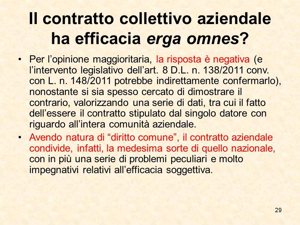 29 Il contratto collettivo aziendale ha efficacia erga omnes.