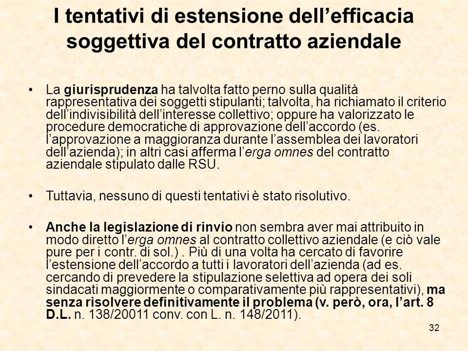 32 I tentativi di estensione dell'efficacia soggettiva del contratto aziendale La giurisprudenza ha talvolta fatto perno sulla qualità rappresentativa dei soggetti stipulanti; talvolta, ha richiamato il criterio dell'indivisibilità dell'interesse collettivo; oppure ha valorizzato le procedure democratiche di approvazione dell'accordo (es.