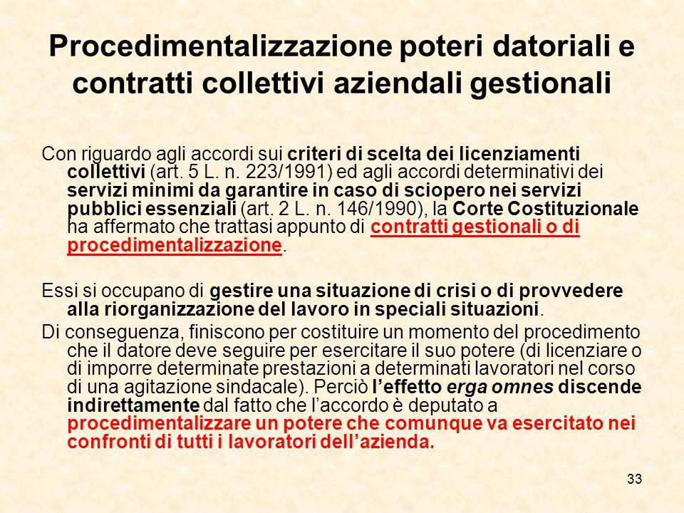 33 Procedimentalizzazione poteri datoriali e contratti collettivi aziendali gestionali Con riguardo agli accordi sui criteri di scelta dei licenziamenti collettivi (art.