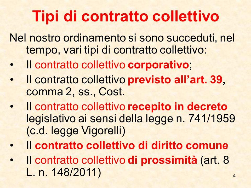 5 Il contratto collettivo di diritto comune E' l'unico oggi vitale.