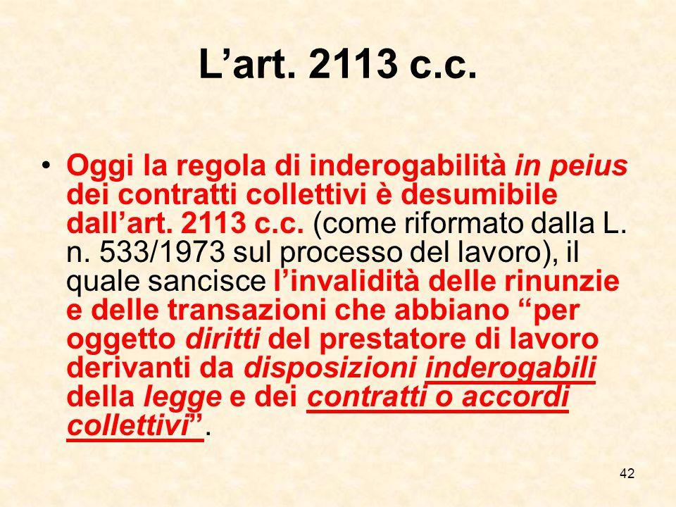 42 L'art.2113 c.c.