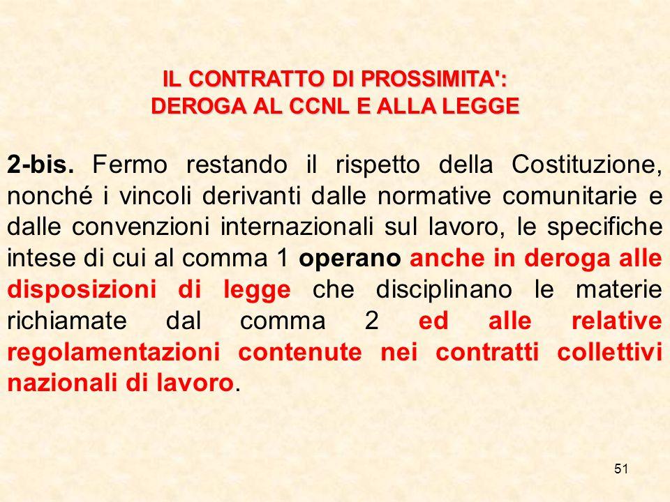 51 IL CONTRATTO DI PROSSIMITA : DEROGA AL CCNL E ALLA LEGGE 2-bis.