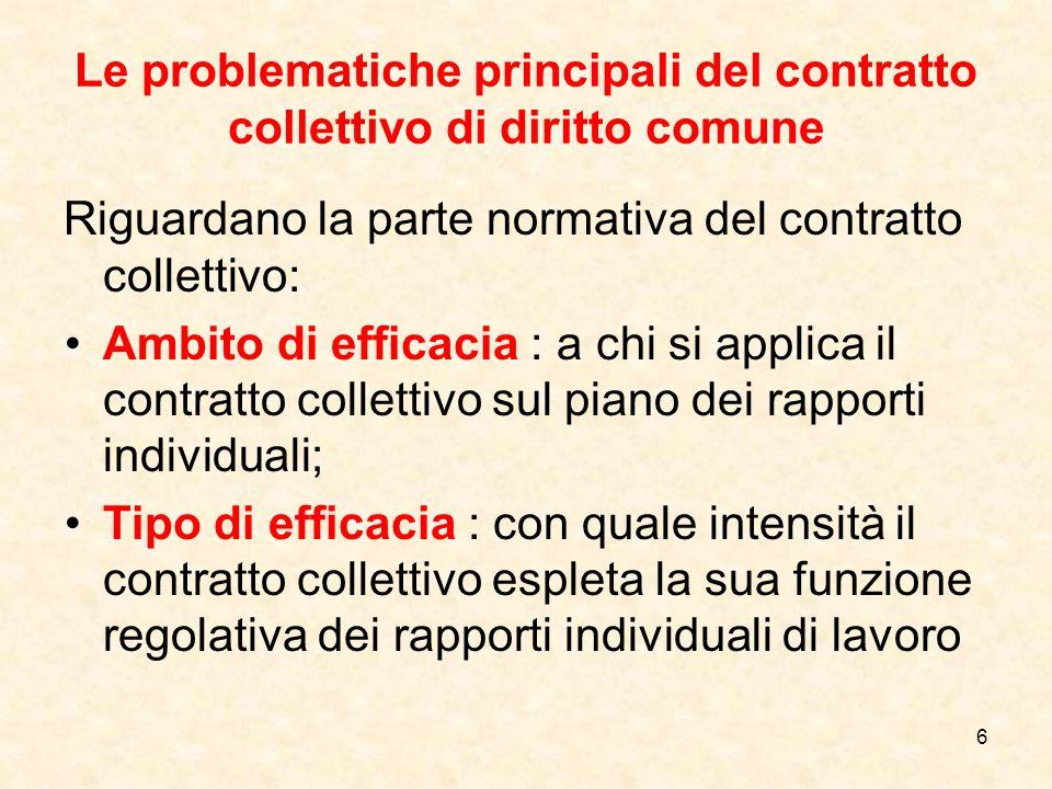 6 Le problematiche principali del contratto collettivo di diritto comune Riguardano la parte normativa del contratto collettivo: Ambito di efficacia : a chi si applica il contratto collettivo sul piano dei rapporti individuali; Tipo di efficacia : con quale intensità il contratto collettivo espleta la sua funzione regolativa dei rapporti individuali di lavoro