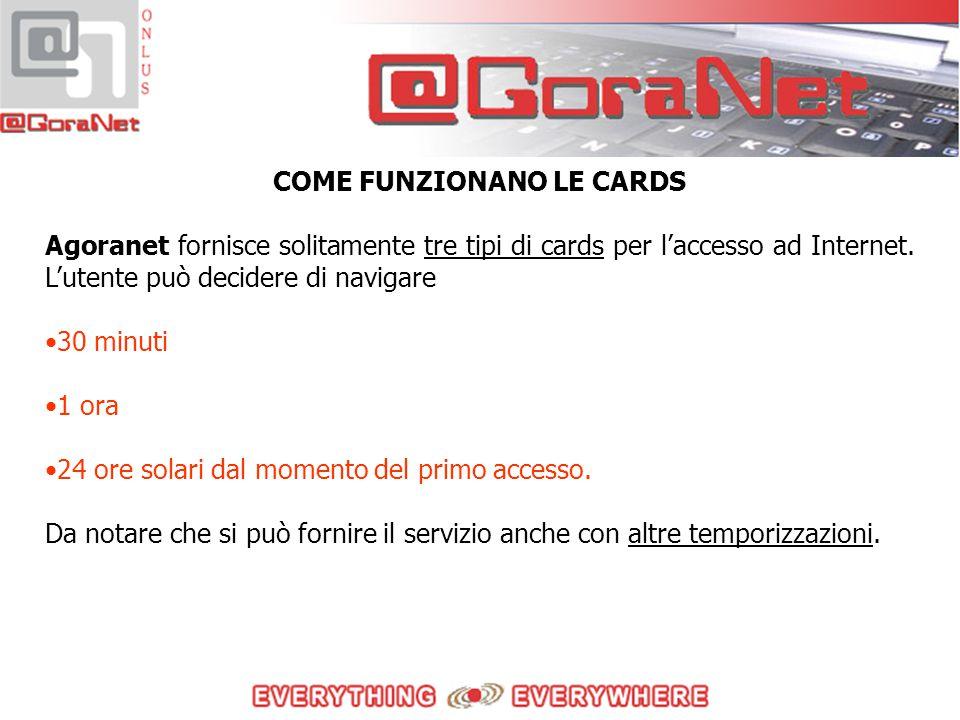 COME FUNZIONANO LE CARDS Agoranet fornisce solitamente tre tipi di cards per l'accesso ad Internet.