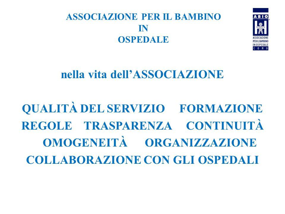 ASSOCIAZIONE PER IL BAMBINO IN OSPEDALE nella vita dell'ASSOCIAZIONE QUALITÀ DEL SERVIZIO FORMAZIONE REGOLE TRASPARENZA CONTINUITÀ OMOGENEITÀ ORGANIZZAZIONE COLLABORAZIONE CON GLI OSPEDALI