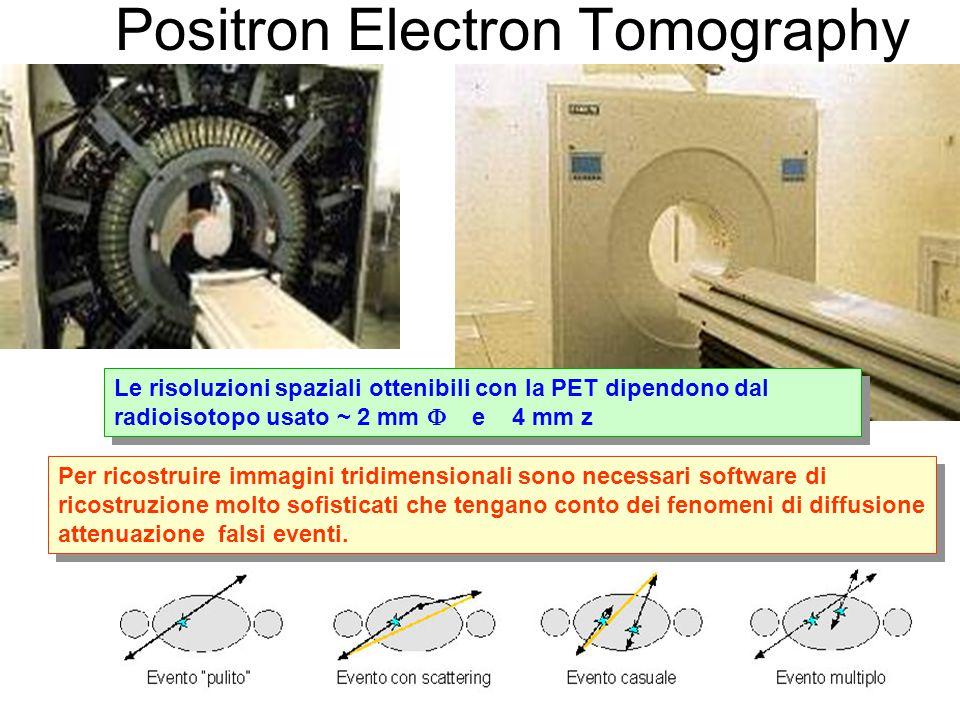 Positron Electron Tomography Al paziente viene iniettata una sostanza radio- farmacologica (prodotta da un ciclotrone) con una vita media piuttosto breve.