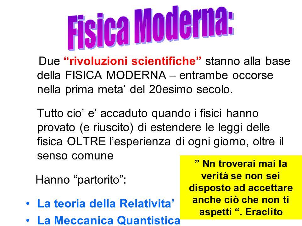 Due rivoluzioni scientifiche stanno alla base della FISICA MODERNA – entrambe occorse nella prima meta' del 20esimo secolo.