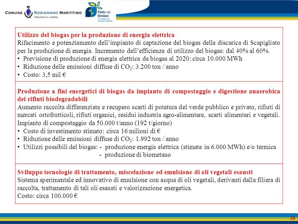 23 Utilizzo del biogas per la produzione di energia elettrica Rifacimento e potenziamento dell'impianto di captazione del biogas della discarica di Sc