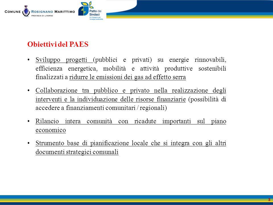 Obiettivi del PAES Sviluppo progetti (pubblici e privati) su energie rinnovabili, efficienza energetica, mobilità e attività produttive sostenibili fi