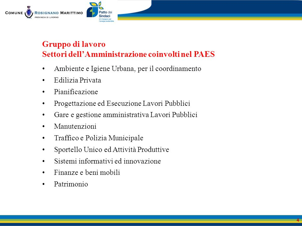 Gruppo di lavoro Settori dell'Amministrazione coinvolti nel PAES Ambiente e Igiene Urbana, per il coordinamento Edilizia Privata Pianificazione Proget