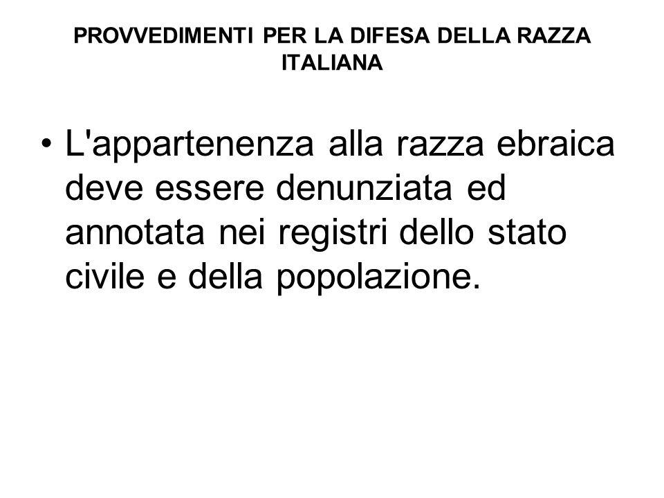PROVVEDIMENTI PER LA DIFESA DELLA RAZZA ITALIANA L'appartenenza alla razza ebraica deve essere denunziata ed annotata nei registri dello stato civile