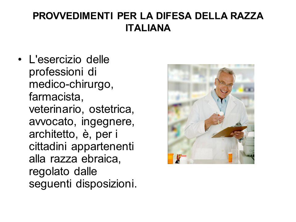 PROVVEDIMENTI PER LA DIFESA DELLA RAZZA ITALIANA L'esercizio delle professioni di medico-chirurgo, farmacista, veterinario, ostetrica, avvocato, ingeg