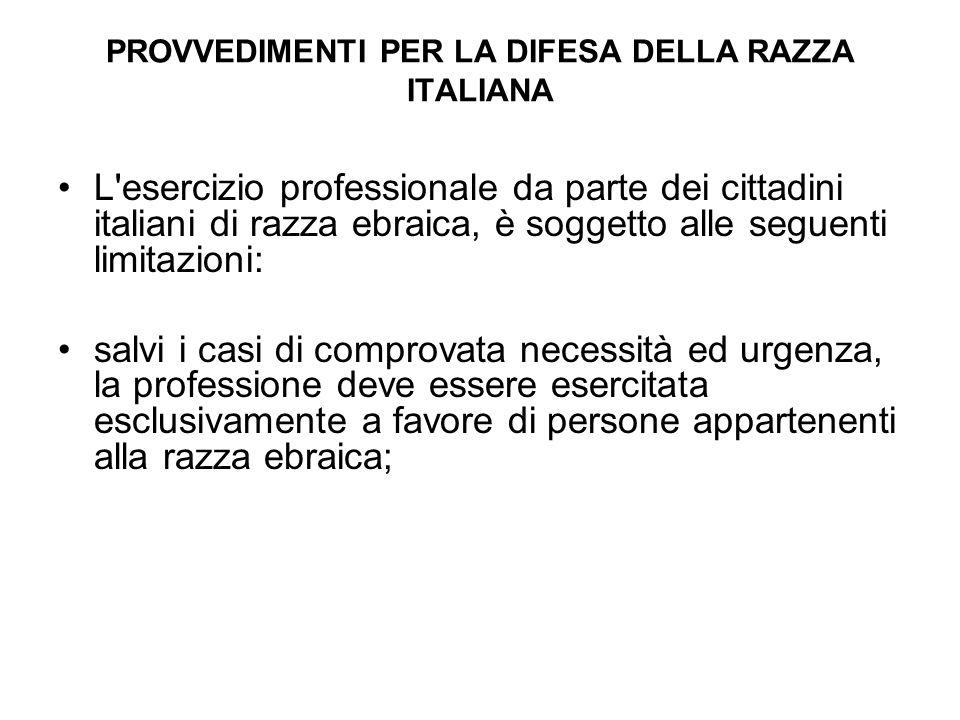 PROVVEDIMENTI PER LA DIFESA DELLA RAZZA ITALIANA L'esercizio professionale da parte dei cittadini italiani di razza ebraica, è soggetto alle seguenti