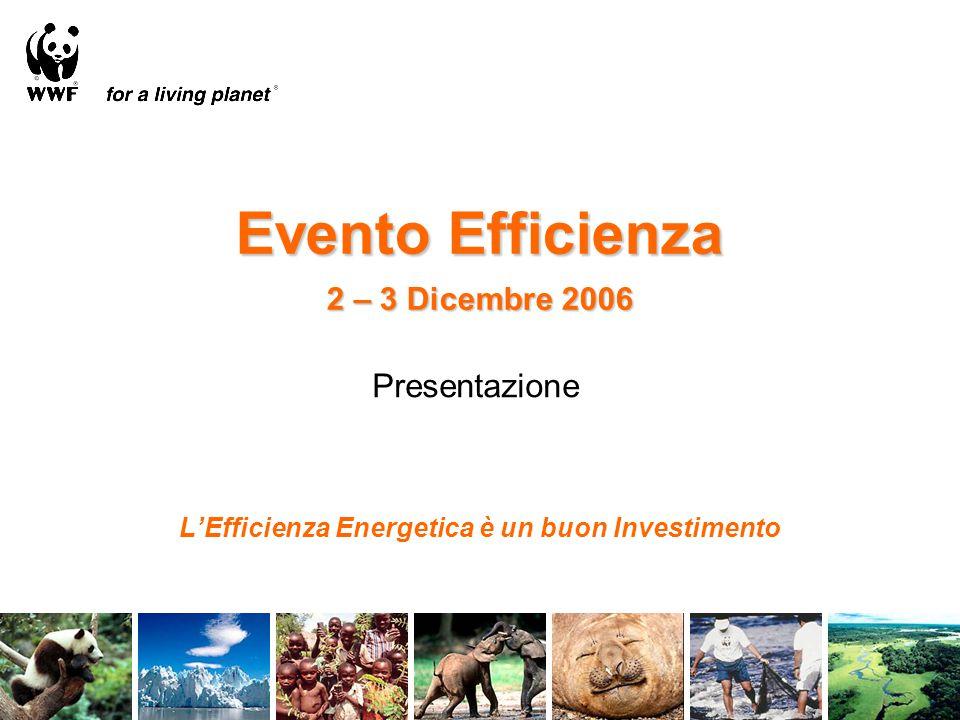Evento Efficienza 2 – 3 Dicembre 2006 L'Efficienza Energetica è un buon Investimento Presentazione