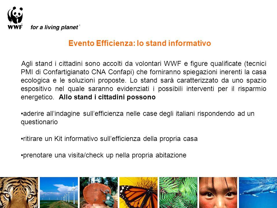 Evento Efficienza: lo stand informativo Agli stand i cittadini sono accolti da volontari WWF e figure qualificate (tecnici PMI di Confartigianato CNA