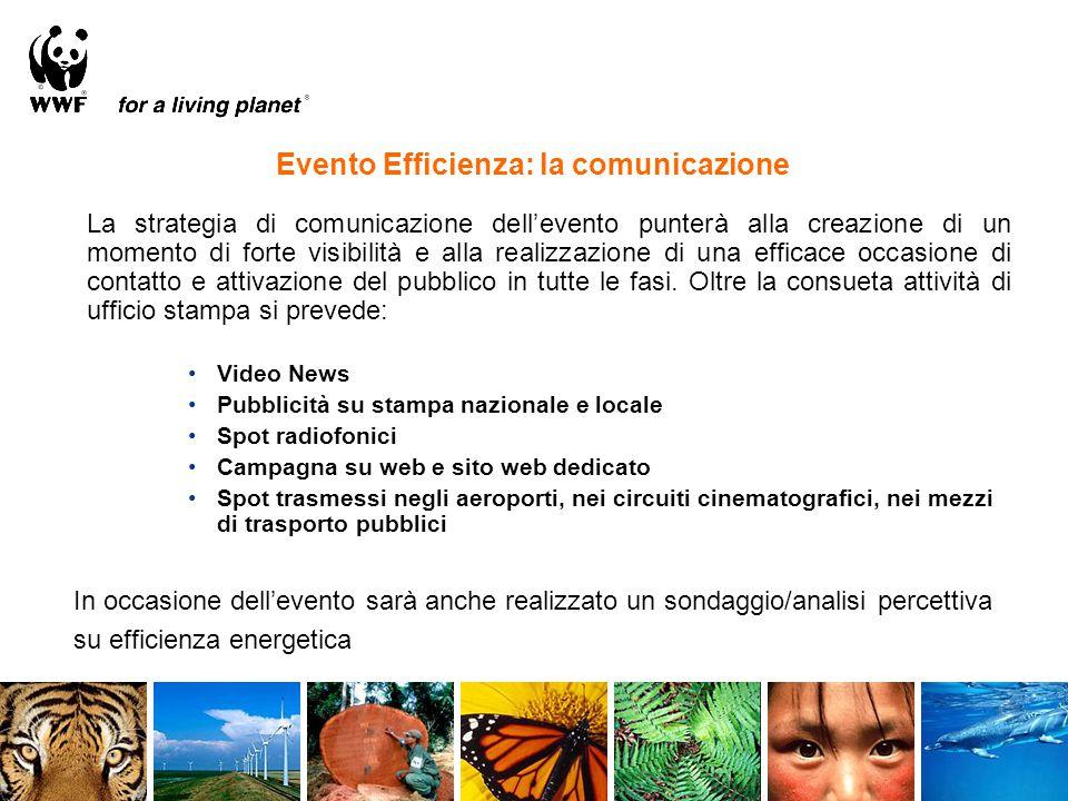 Evento Efficienza: la comunicazione La strategia di comunicazione dell'evento punterà alla creazione di un momento di forte visibilità e alla realizza