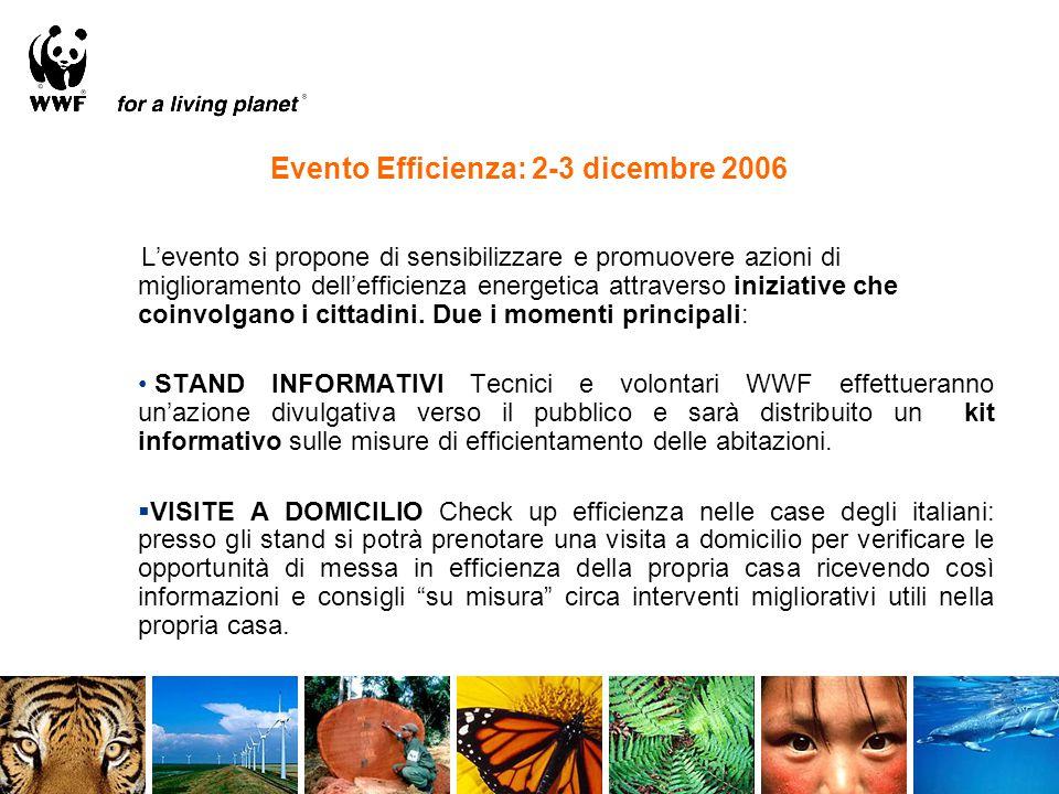 Evento Efficienza: 2-3 dicembre 2006 L'evento si propone di sensibilizzare e promuovere azioni di miglioramento dell'efficienza energetica attraverso iniziative che coinvolgano i cittadini.
