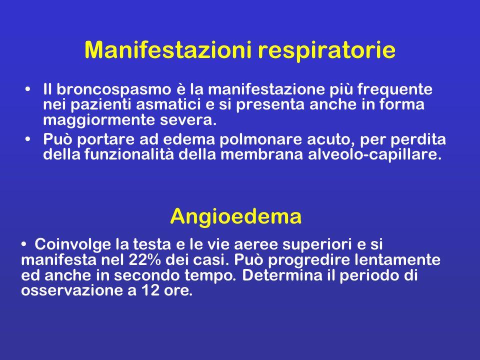 Manifestazioni respiratorie Il broncospasmo è la manifestazione più frequente nei pazienti asmatici e si presenta anche in forma maggiormente severa.