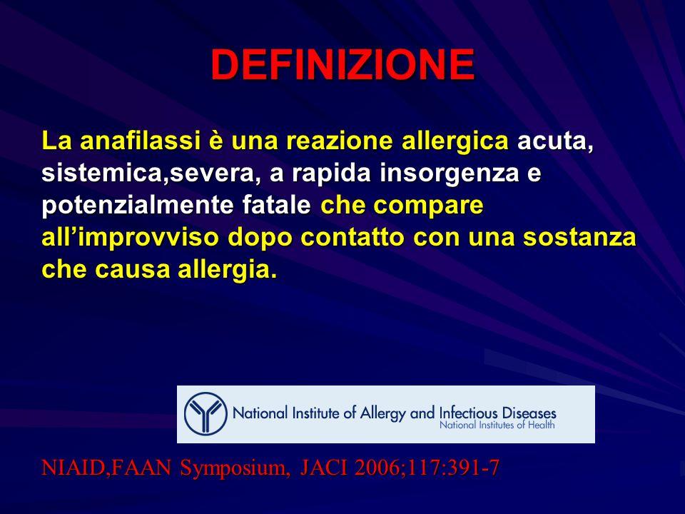 DEFINIZIONE La anafilassi è una reazione allergica acuta, sistemica,severa, a rapida insorgenza e potenzialmente fatale che compare all'improvviso dop