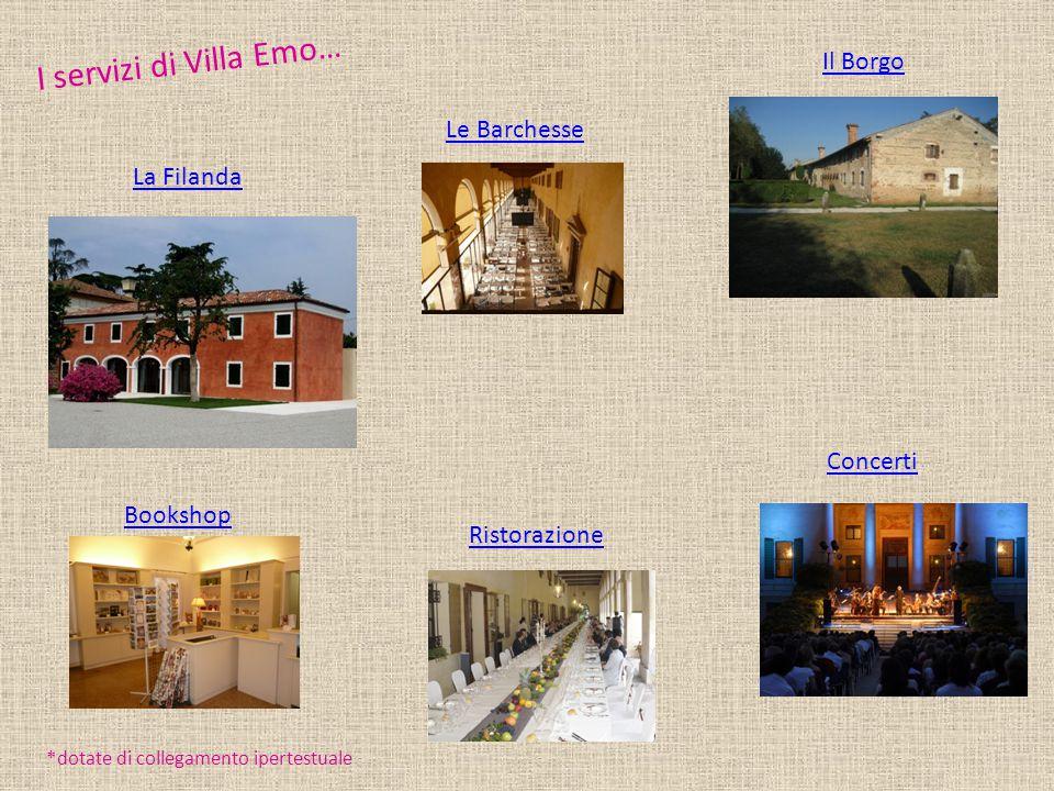 I servizi di Villa Emo… Il Borgo La Filanda Concerti Ristorazione Le Barchesse *dotate di collegamento ipertestuale Bookshop