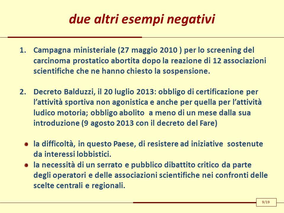 due altri esempi negativi 1.Campagna ministeriale (27 maggio 2010 ) per lo screening del carcinoma prostatico abortita dopo la reazione di 12 associazioni scientifiche che ne hanno chiesto la sospensione.
