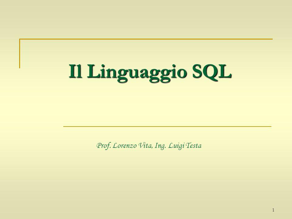 1 Il Linguaggio SQL Il Linguaggio SQL Prof. Lorenzo Vita, Ing. Luigi Testa