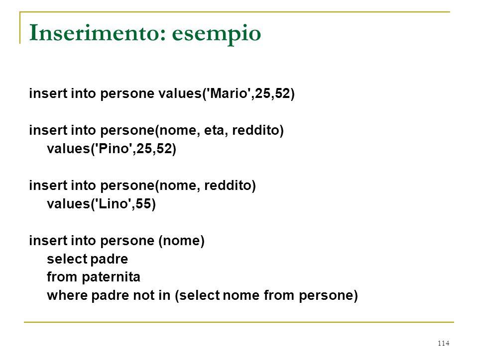 114 Inserimento: esempio insert into persone values('Mario',25,52) insert into persone(nome, eta, reddito) values('Pino',25,52) insert into persone(no