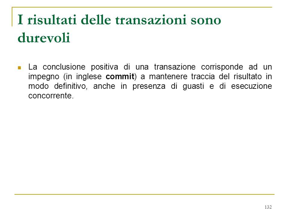 132 I risultati delle transazioni sono durevoli La conclusione positiva di una transazione corrisponde ad un impegno (in inglese commit) a mantenere t