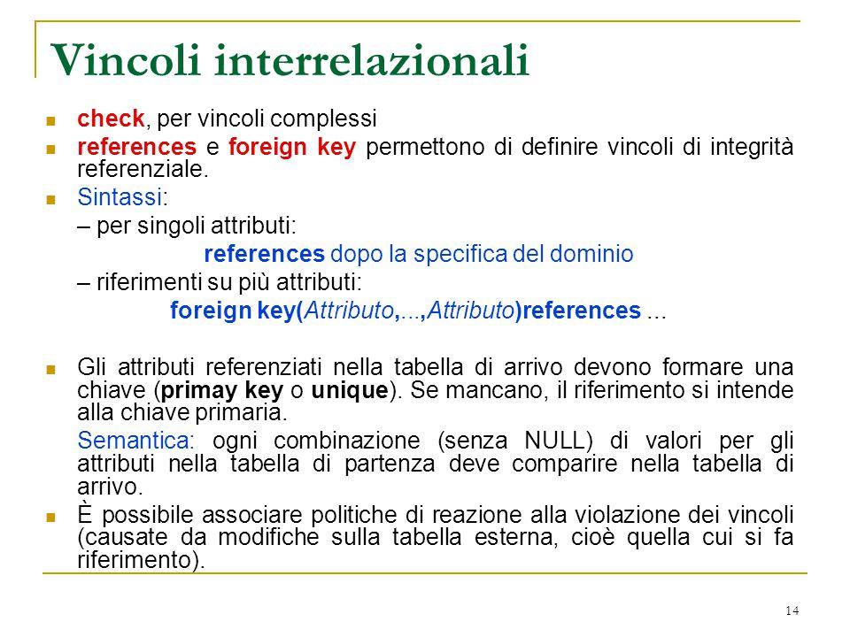14 Vincoli interrelazionali check, per vincoli complessi references e foreign key permettono di definire vincoli di integrità referenziale. Sintassi: