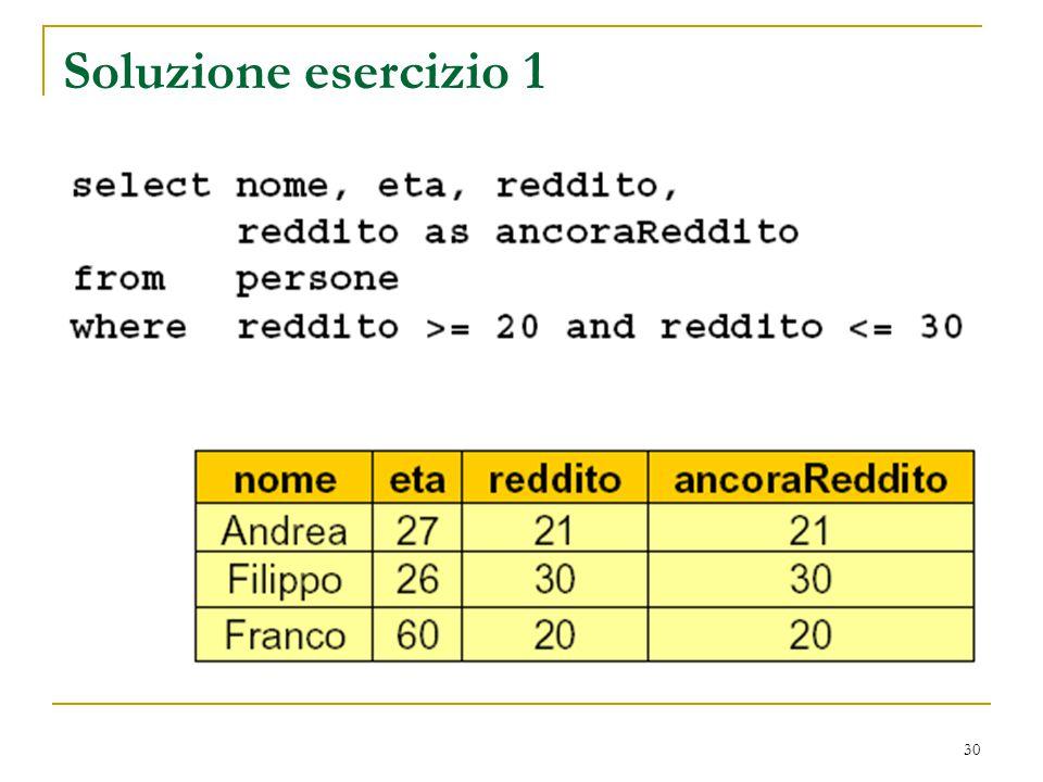30 Soluzione esercizio 1
