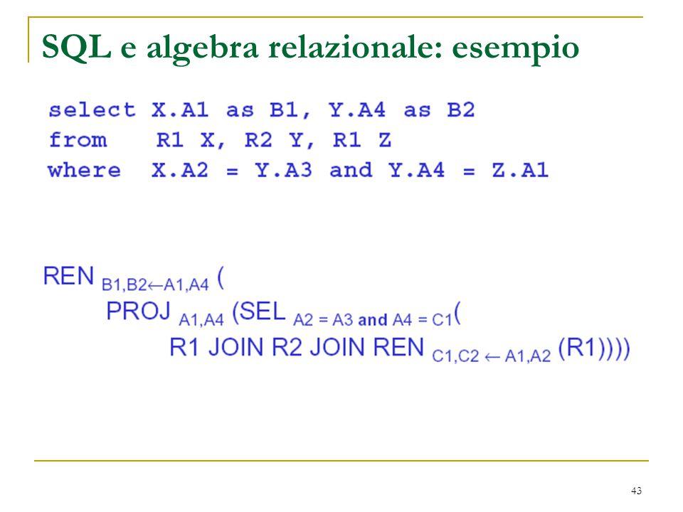 43 SQL e algebra relazionale: esempio