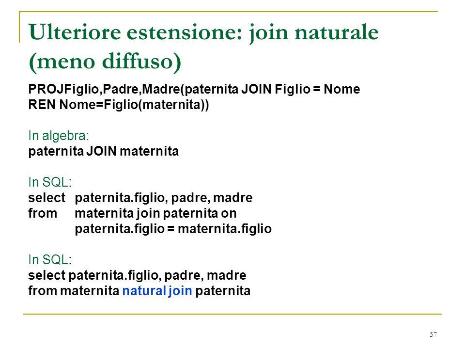 57 Ulteriore estensione: join naturale (meno diffuso) PROJFiglio,Padre,Madre(paternita JOIN Figlio = Nome REN Nome=Figlio(maternita)) In algebra: pate