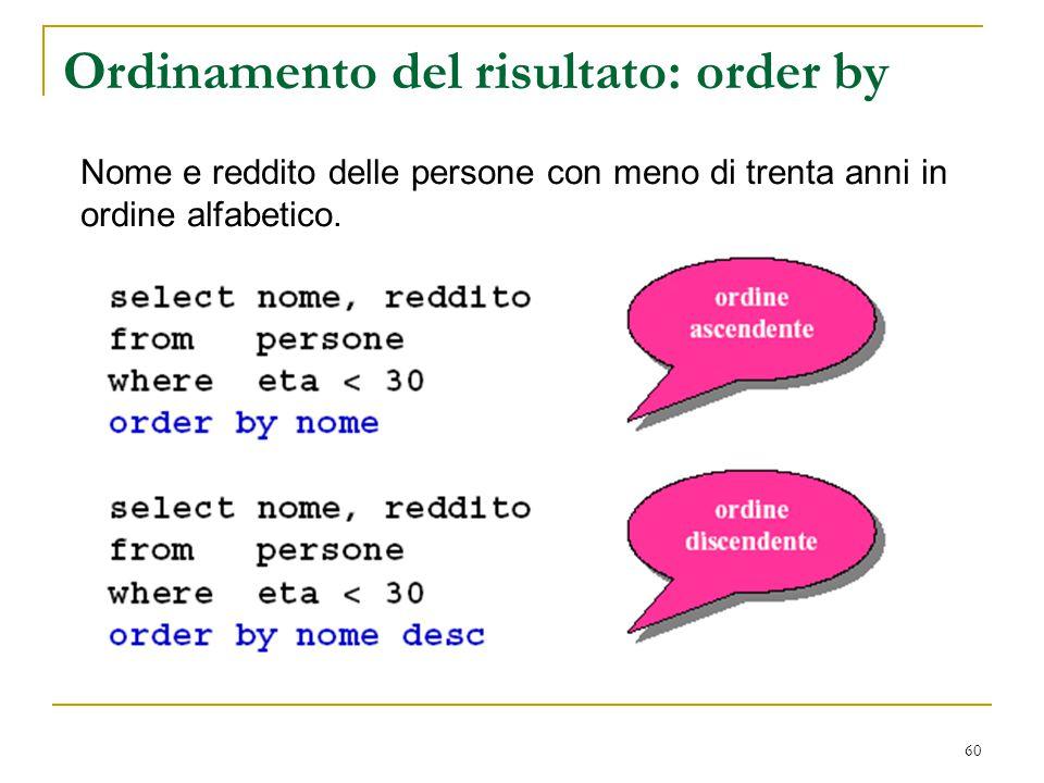 60 Ordinamento del risultato: order by Nome e reddito delle persone con meno di trenta anni in ordine alfabetico.