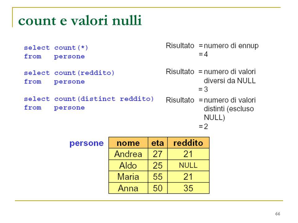 66 count e valori nulli