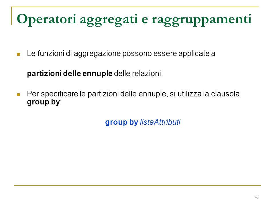70 Operatori aggregati e raggruppamenti Le funzioni di aggregazione possono essere applicate a partizioni delle ennuple delle relazioni. Per specifica