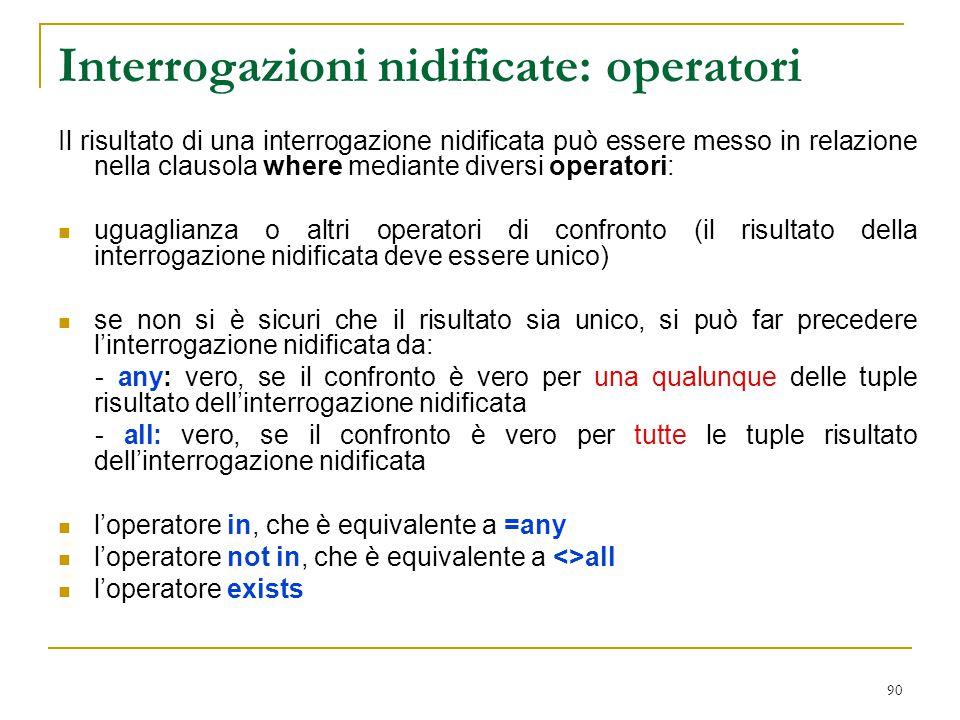 90 Interrogazioni nidificate: operatori Il risultato di una interrogazione nidificata può essere messo in relazione nella clausola where mediante dive