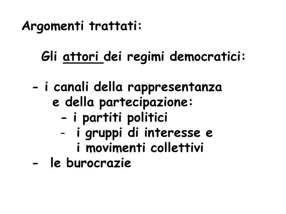 Argomenti trattati: Gli attori dei regimi democratici: - i canali della rappresentanza e della partecipazione: - i partiti politici - i gruppi di interesse e i movimenti collettivi - le burocrazie