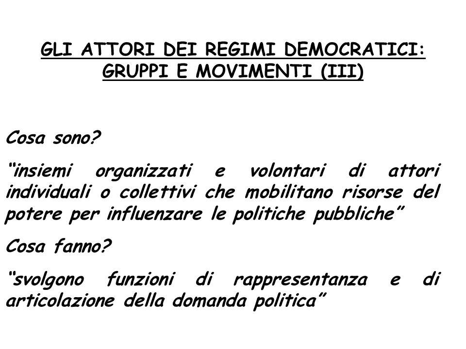"""GLI ATTORI DEI REGIMI DEMOCRATICI: GRUPPI E MOVIMENTI (III) Cosa sono? """"insiemi organizzati e volontari di attori individuali o collettivi che mobilit"""