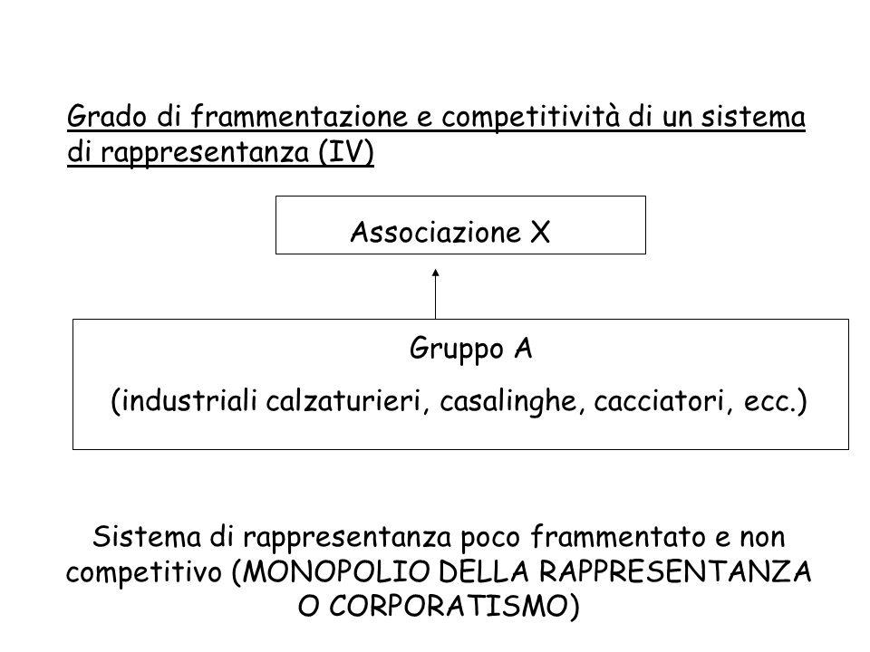Grado di frammentazione e competitività di un sistema di rappresentanza (IV) Associazione X Gruppo A (industriali calzaturieri, casalinghe, cacciatori, ecc.) Sistema di rappresentanza poco frammentato e non competitivo (MONOPOLIO DELLA RAPPRESENTANZA O CORPORATISMO)