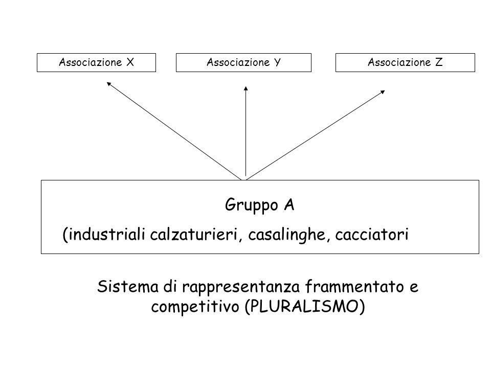 Gruppo A (industriali calzaturieri, casalinghe, cacciatori Associazione XAssociazione YAssociazione Z Sistema di rappresentanza frammentato e competitivo (PLURALISMO)