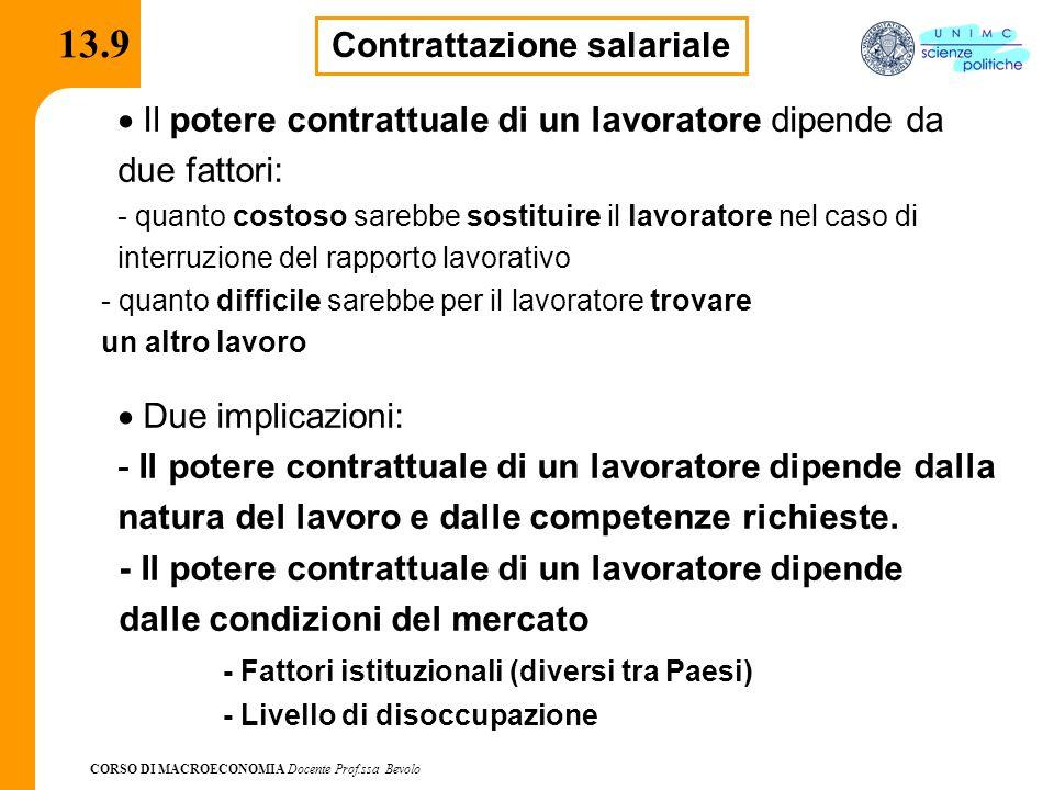 CORSO DI MACROECONOMIA Docente Prof.ssa Bevolo 13.9 Contrattazione salariale  Il potere contrattuale di un lavoratore dipende da due fattori: - quan