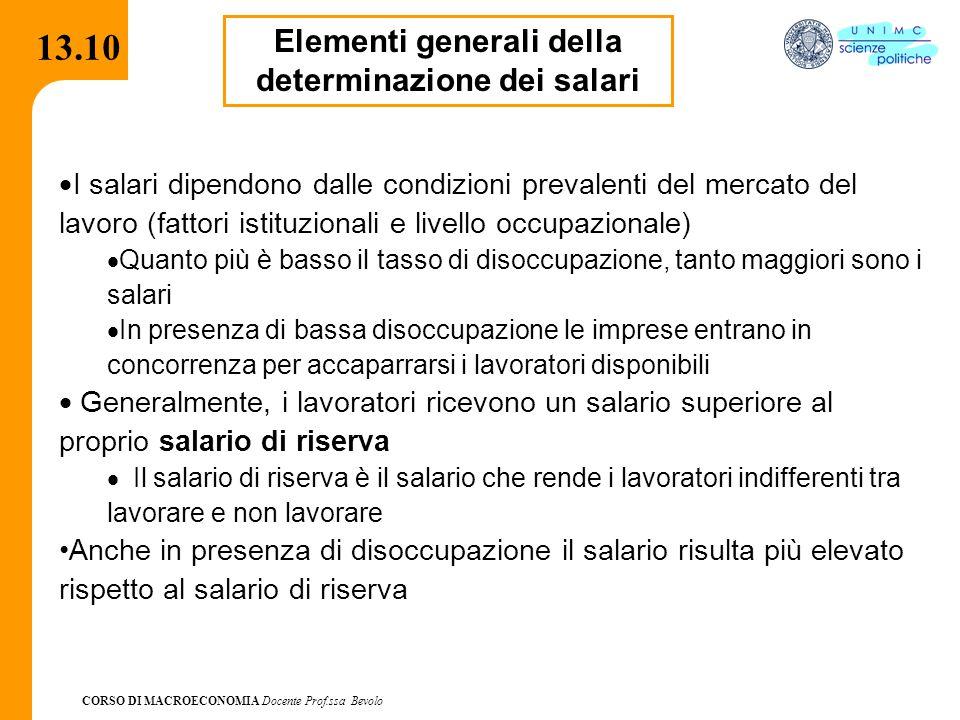 CORSO DI MACROECONOMIA Docente Prof.ssa Bevolo 13.10 Elementi generali della determinazione dei salari  I salari dipendono dalle condizioni prevalent