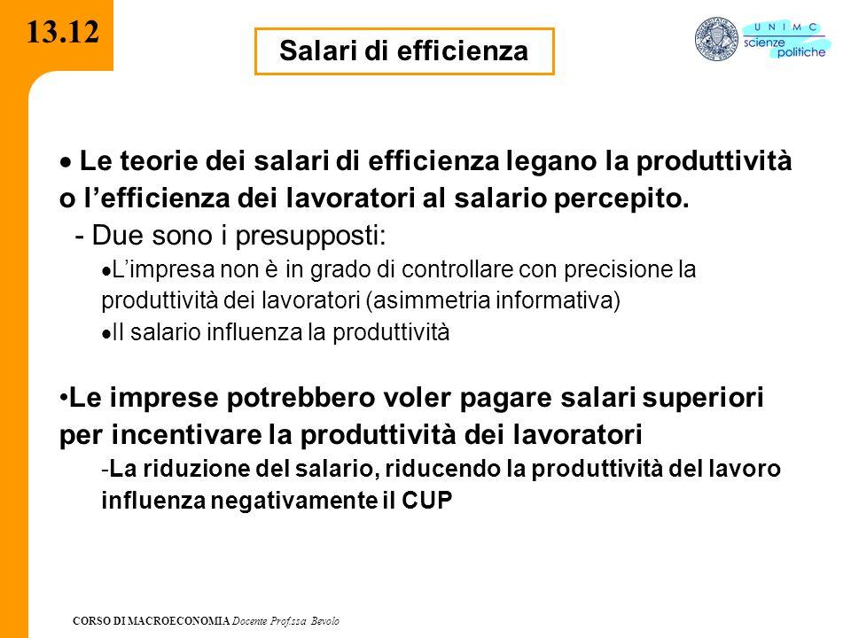CORSO DI MACROECONOMIA Docente Prof.ssa Bevolo 13.12 Salari di efficienza  Le teorie dei salari di efficienza legano la produttività o l'efficienza dei lavoratori al salario percepito.