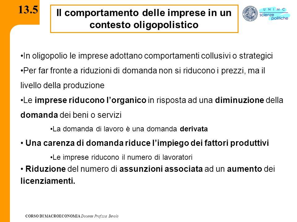 CORSO DI MACROECONOMIA Docente Prof.ssa Bevolo 13.5 Il comportamento delle imprese in un contesto oligopolistico In oligopolio le imprese adottano com