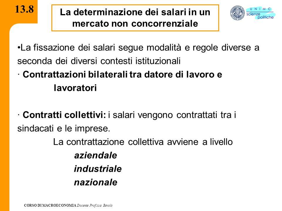 CORSO DI MACROECONOMIA Docente Prof.ssa Bevolo 13.8 La determinazione dei salari in un mercato non concorrenziale La fissazione dei salari segue modal