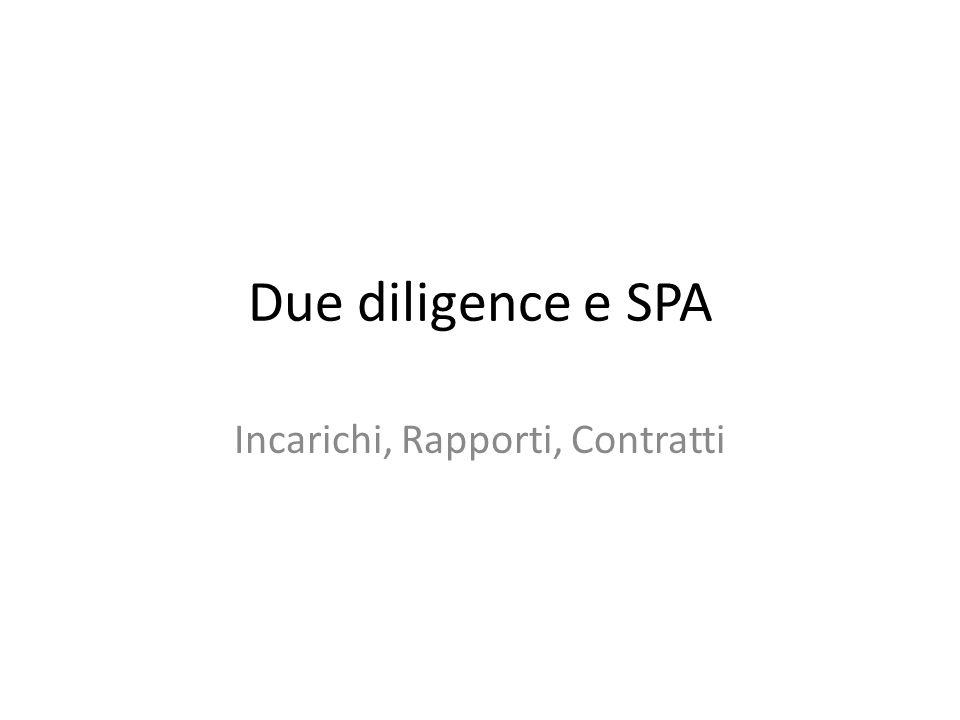 Due diligence e SPA Incarichi, Rapporti, Contratti